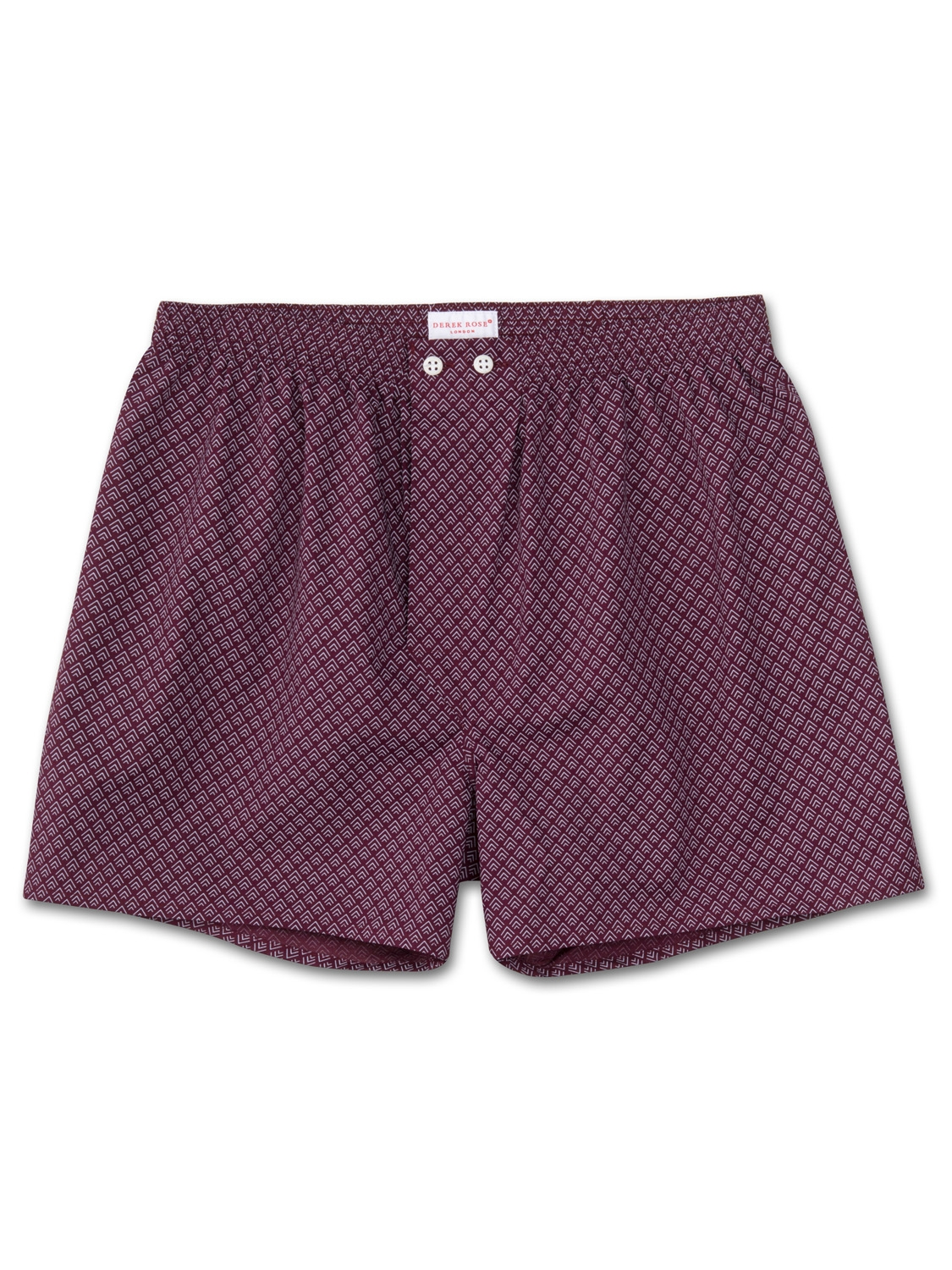 Derek Rose Men's Classic Fit Boxer Shorts Nelson 66 Cotton Batiste Burgundy
