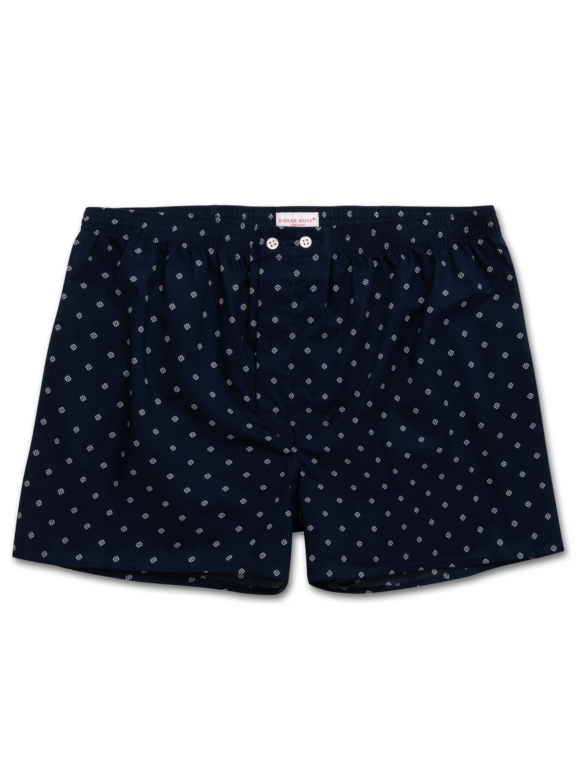 Derek Rose Men's Classic Fit Boxer Shorts Nelson 71 Cotton Batiste Navy