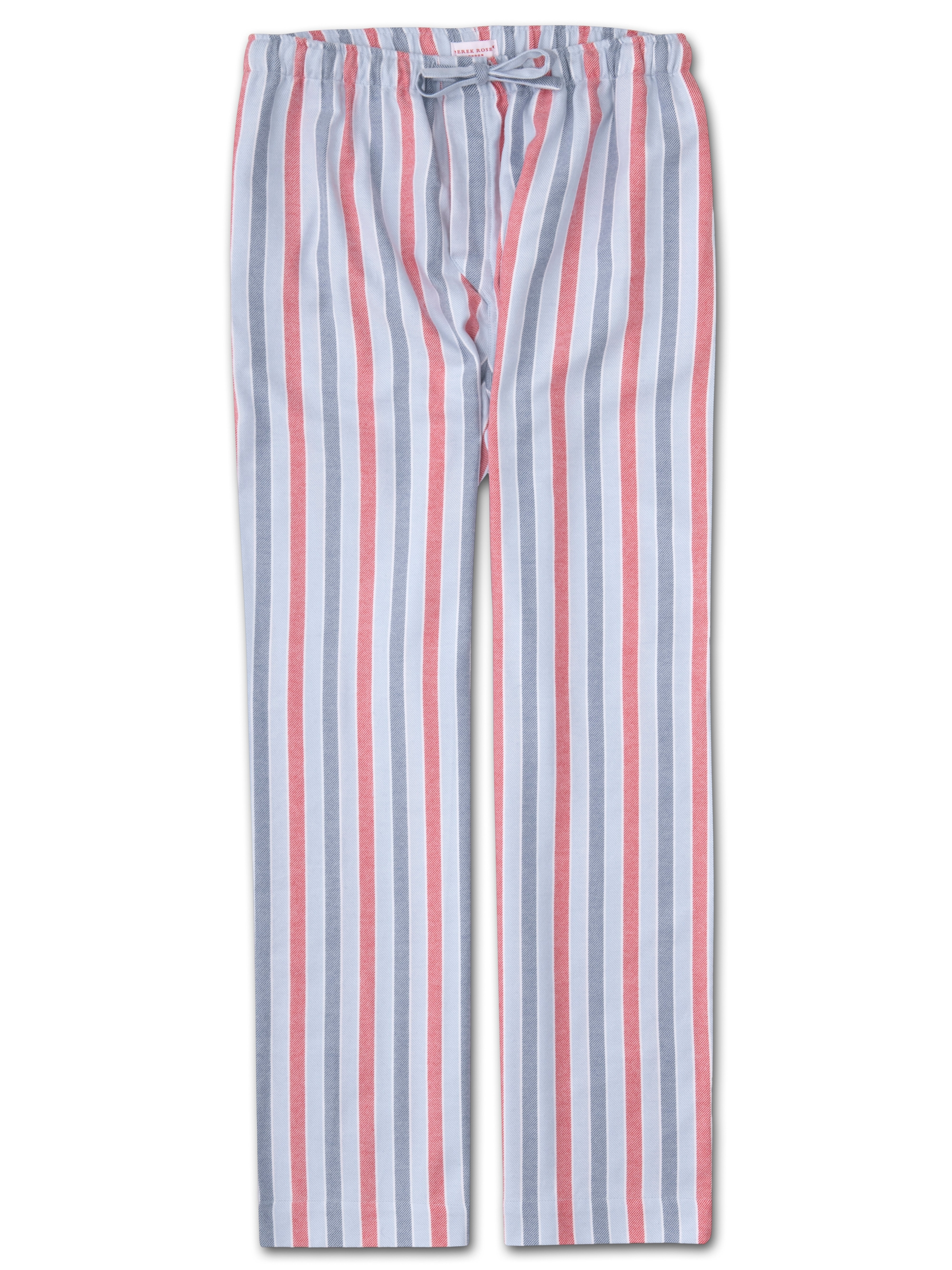 Derek Rose DEREK ROSE MEN'S LOUNGE TROUSERS KELBURN 11 BRUSHED COTTON STRIPE BLUE