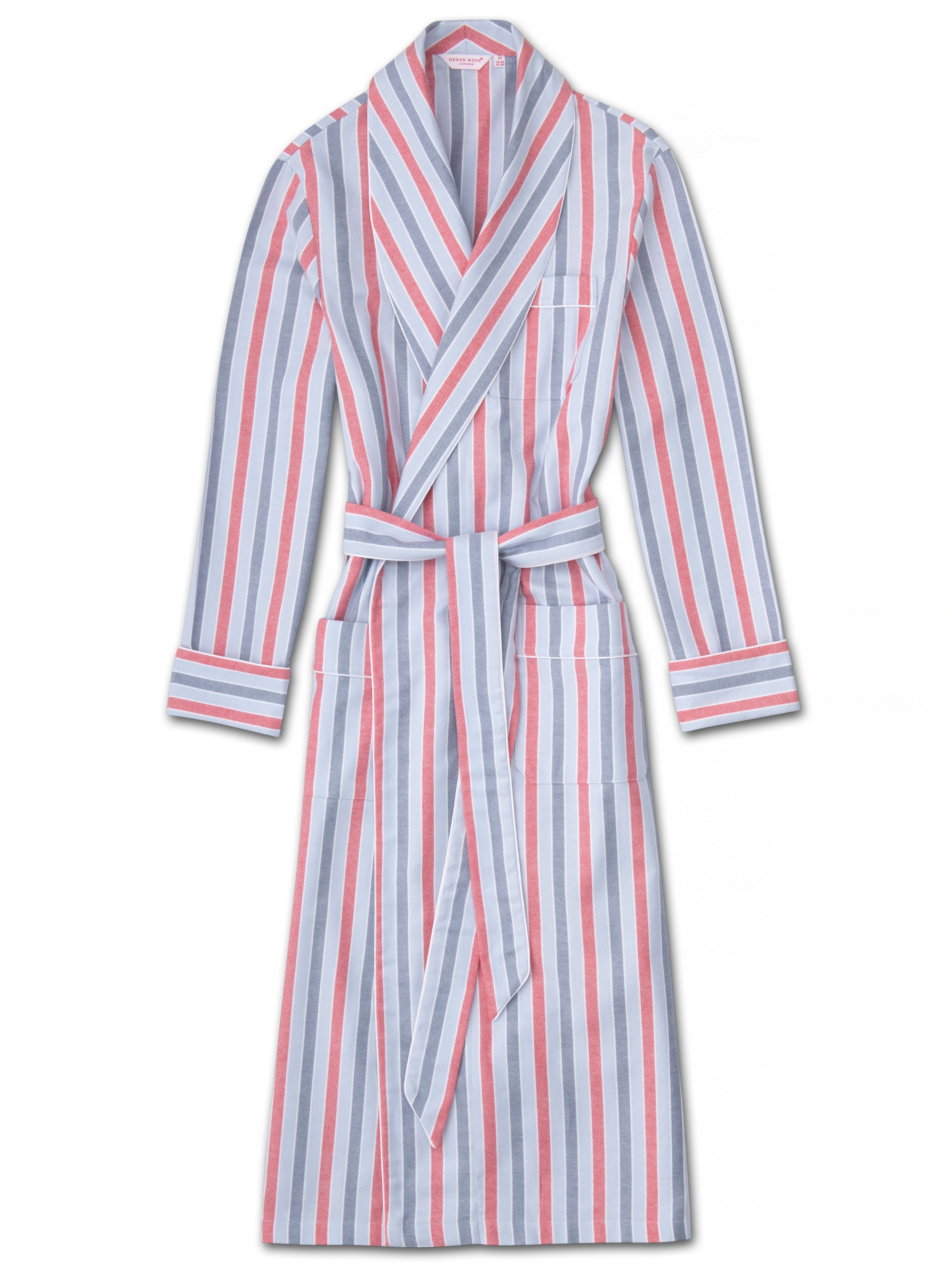 Derek Rose DEREK ROSE MEN'S PIPED DRESSING GOWN KELBURN 11 BRUSHED COTTON STRIPE BLUE