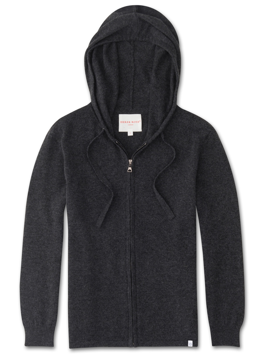 Derek Rose Women's Cashmere Hoodie Finley Pure Cashmere Charcoal