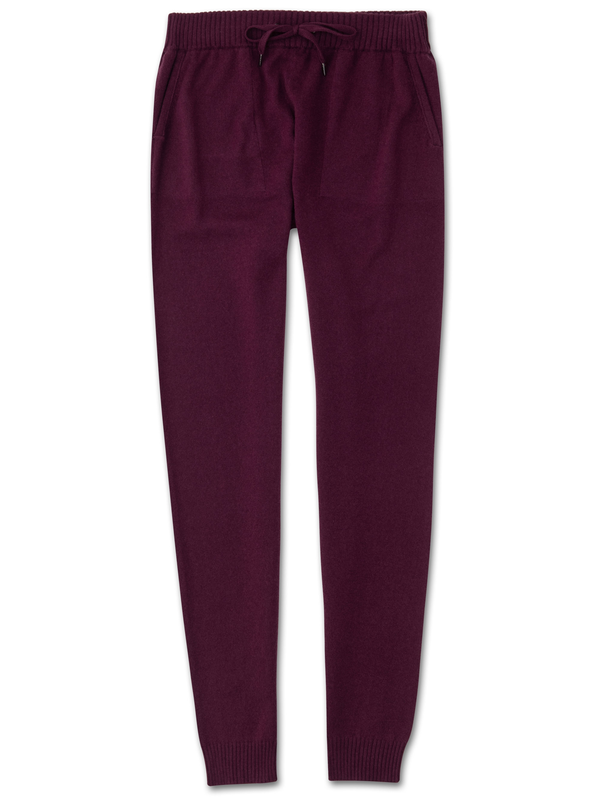 Derek Rose Women's Cashmere Track Pants Finley Pure Cashmere Berry