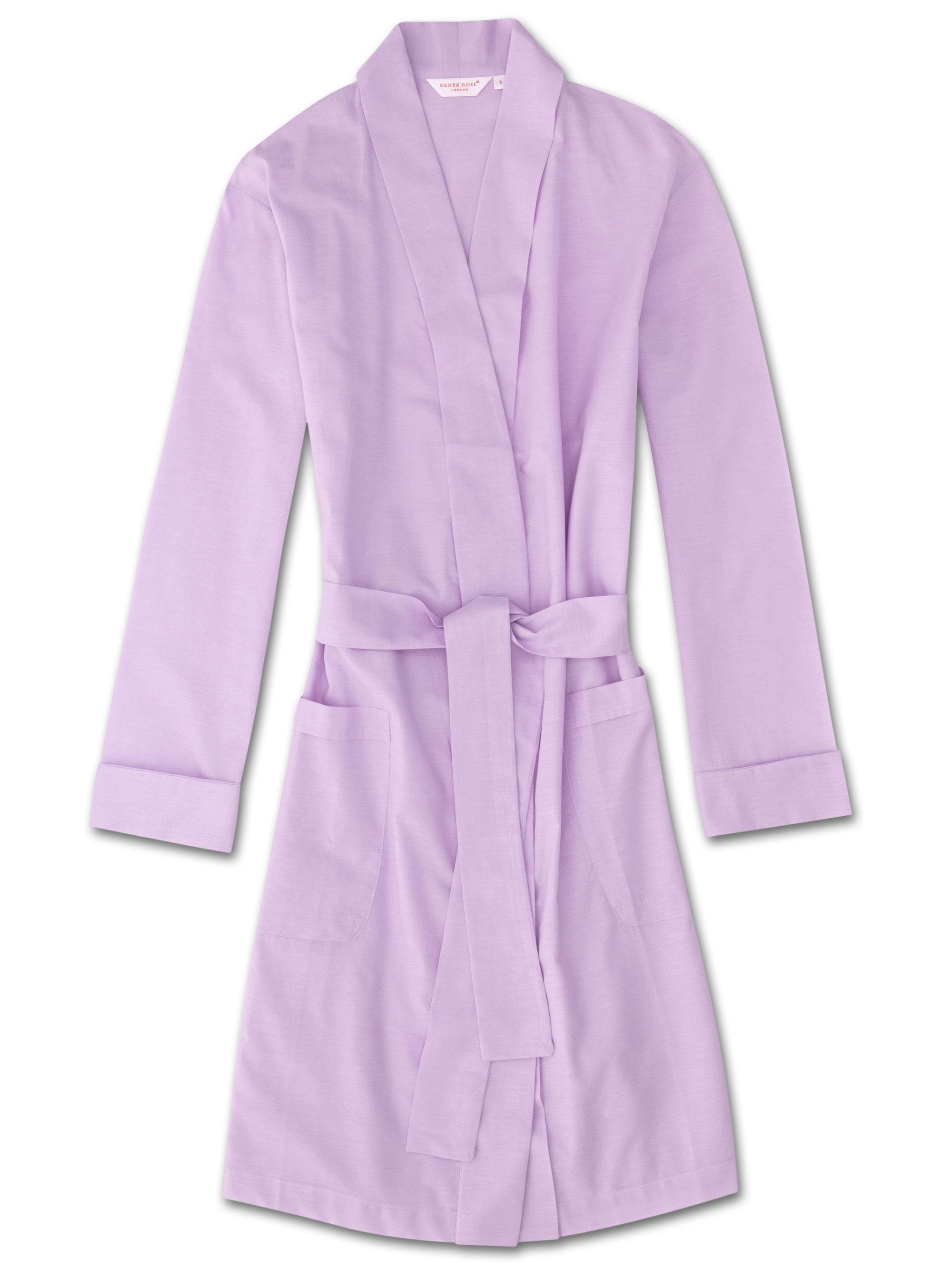 Derek Rose Women's Dressing Gown Amalfi Cotton Batiste Lilac