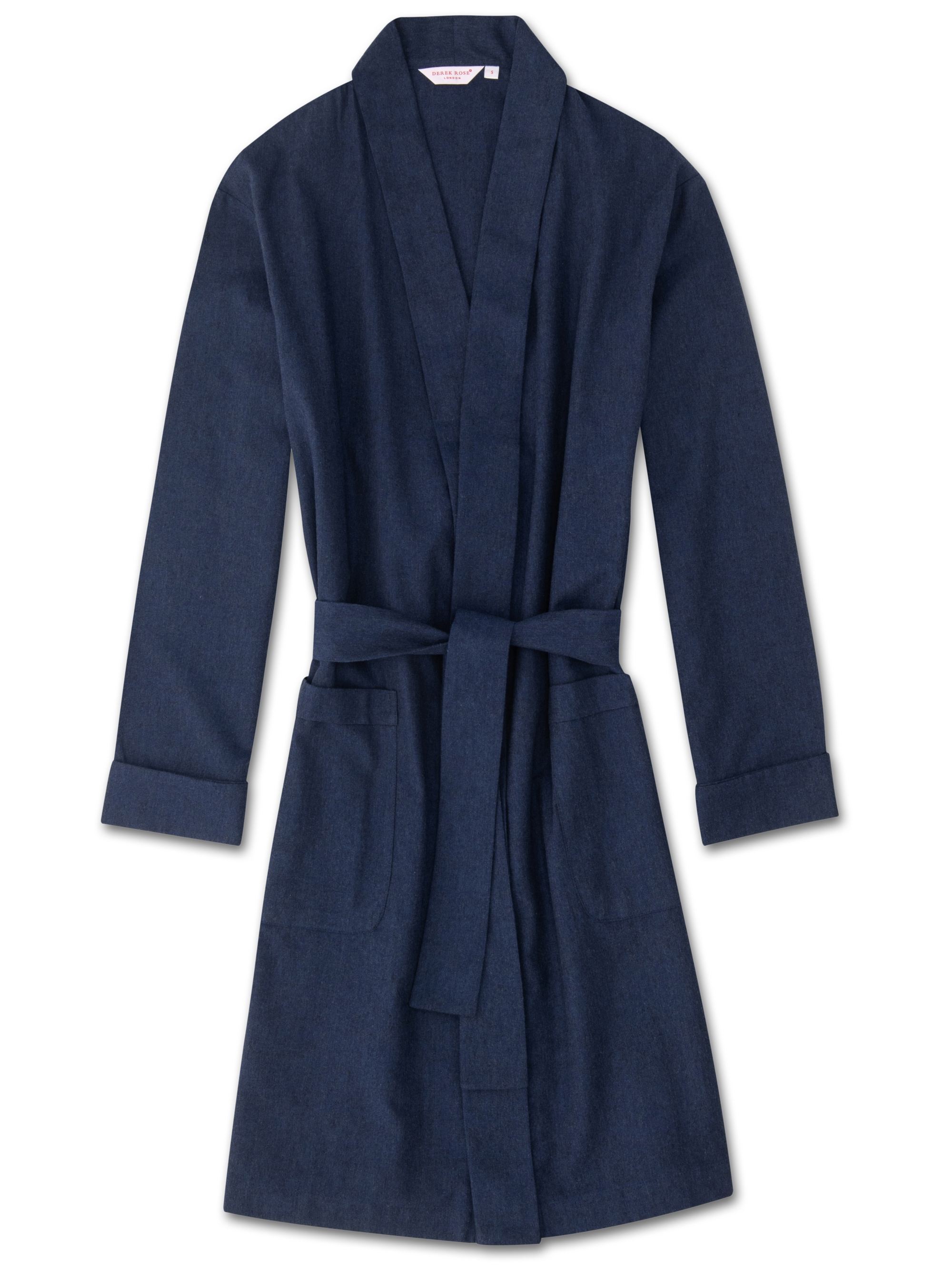 Derek Rose Women's Robe Balmoral 3 Brushed Cotton Navy