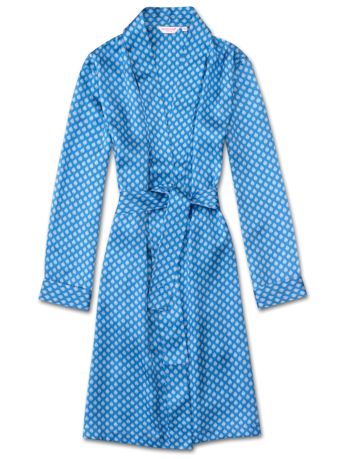 Derek Rose Women's Dressing Gown Brindisi 20 Pure Silk Satin Blue