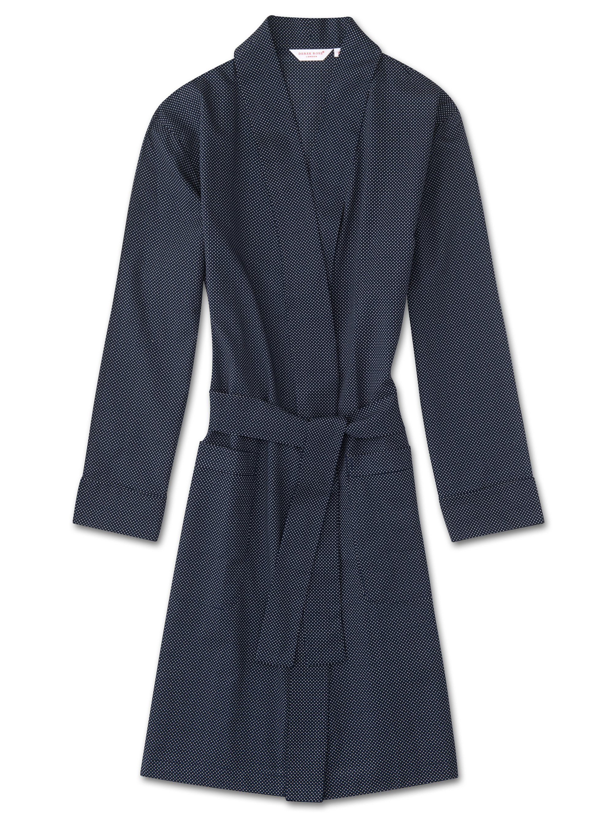 Derek Rose Women's Dressing Gown Plaza 21 Cotton Batiste Polka Dot Navy