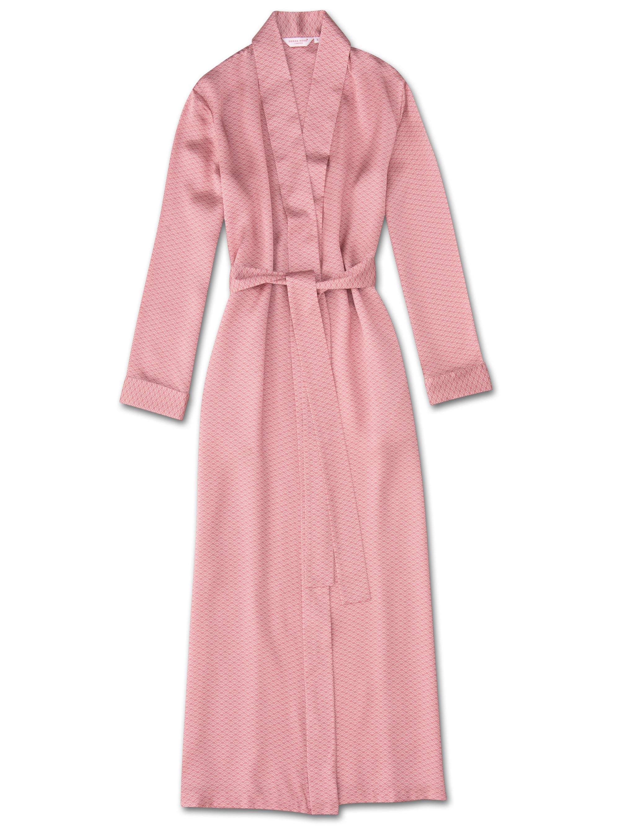 Derek Rose Women's Full Length Dressing Gown Brindisi 26 Pure Silk Satin Pink