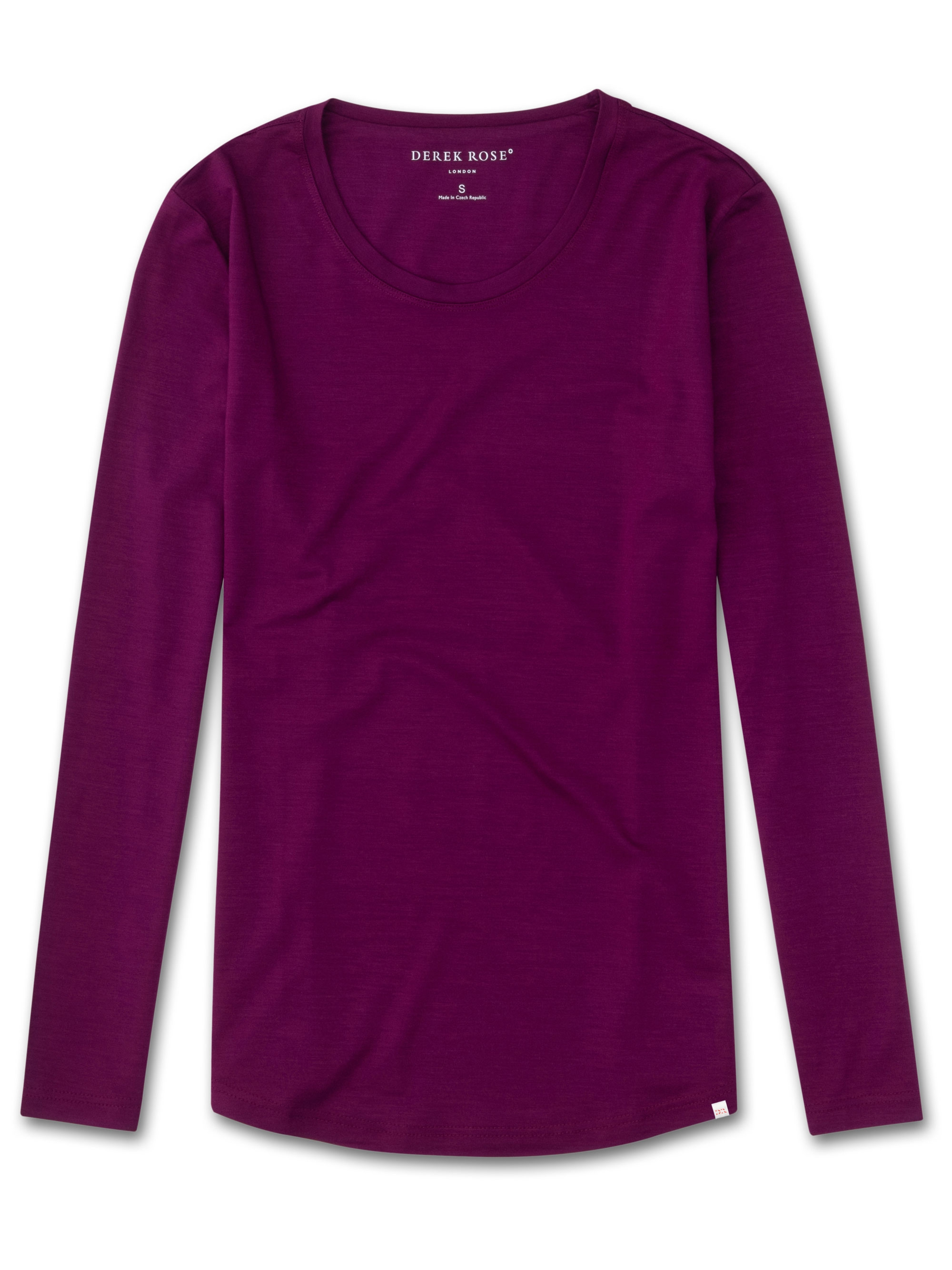 Derek Rose Women's Long Sleeve T-Shirt Lara Micro Modal Stretch Berry