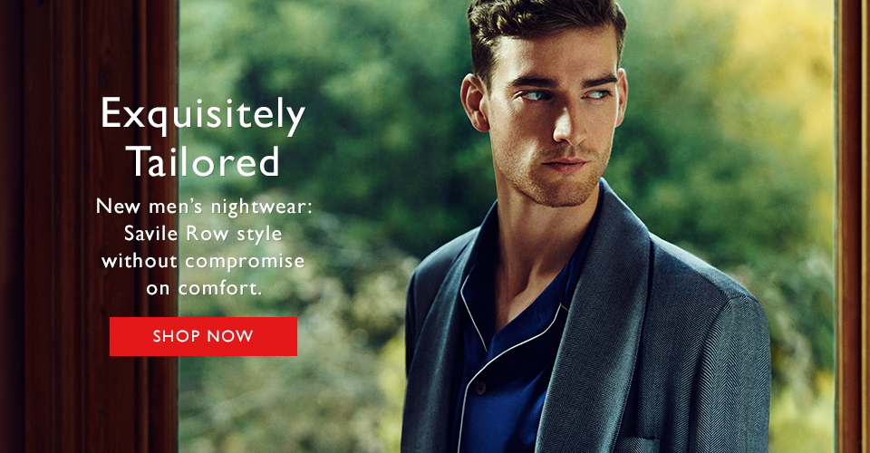 Exquisitely tailored mens nightwear from Derek Rose