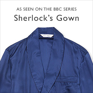 Blue silk dressing gown as worn by Sherlock Holmes